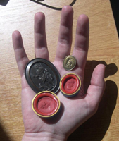Electrotype copy/cast of cameo, an intaglio, two sealing wax impressions