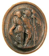Glass cameo.  Dionysos and Ariadne
