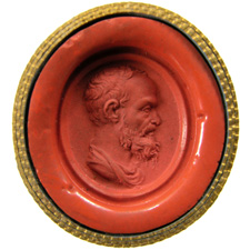 Red glass. Bust of man